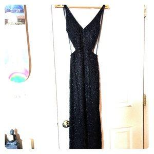 Vintage Silk Hand Beaded Black Dress Gown Wedding